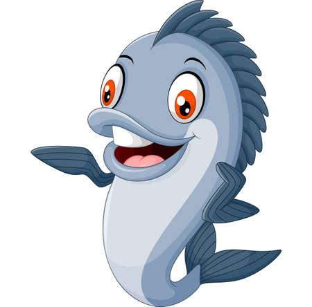 Illustration pour Cartoon fish waving - image libre de droit