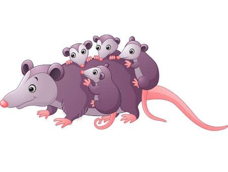 Illustration pour cute cartoon possum with childs - image libre de droit