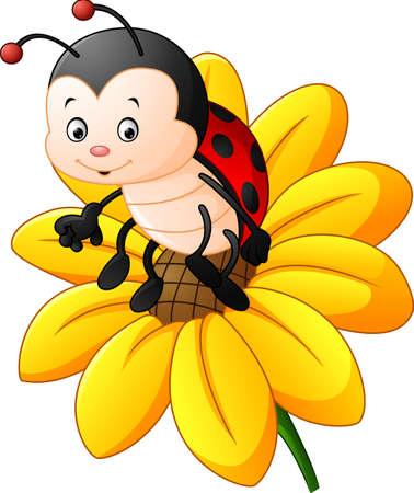Ilustración de Cartoon ladybug on the sun flower - Imagen libre de derechos