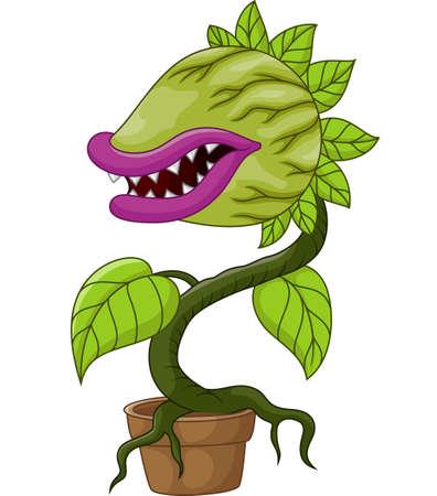 Illustration pour Cartoon carnivorous plant - image libre de droit