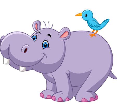 Ilustración de Cartoon funny hippo with bird - Imagen libre de derechos