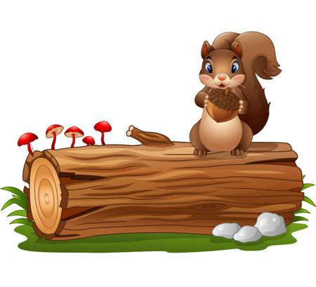 Illustration pour Cartoon squirrel standing while holding acorn - image libre de droit
