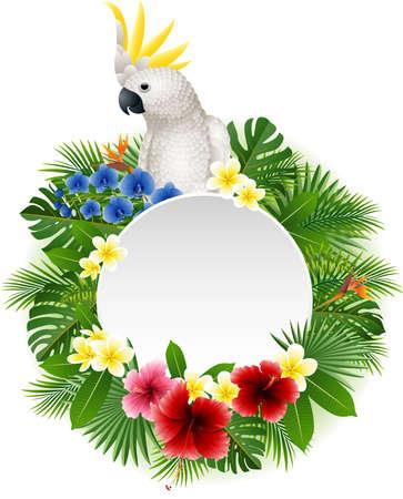 Ilustración de illustration of Cute parrot with blank sign on plant background - Imagen libre de derechos