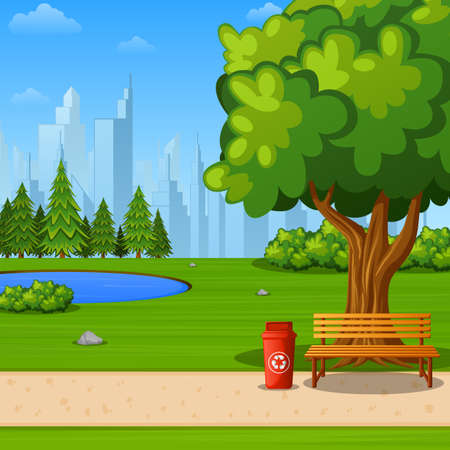 Illustration pour Vector illustration of City park with bench under big tree and city background - image libre de droit