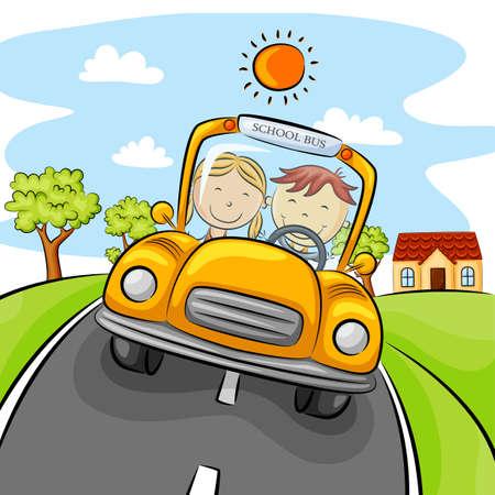 Ilustración de Children driving yellow car on the street - Imagen libre de derechos