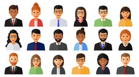 Illustration pour Group of working people men and women icons - image libre de droit