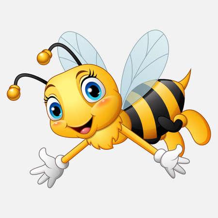 Ilustración de Cartoon happy bee waving hand - Imagen libre de derechos