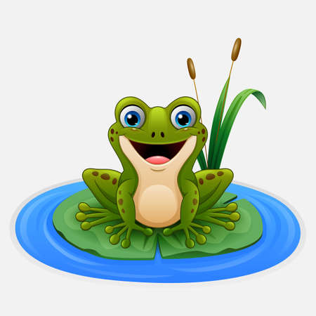 Cartoon frog on a leaf in the pond