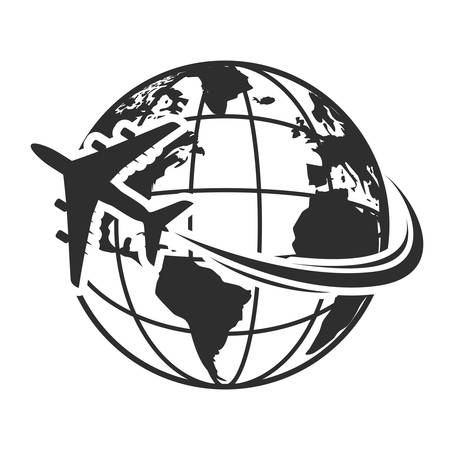 Illustration for Vector illustration of Travel icons with airplane fly around the earth - Royalty Free Image