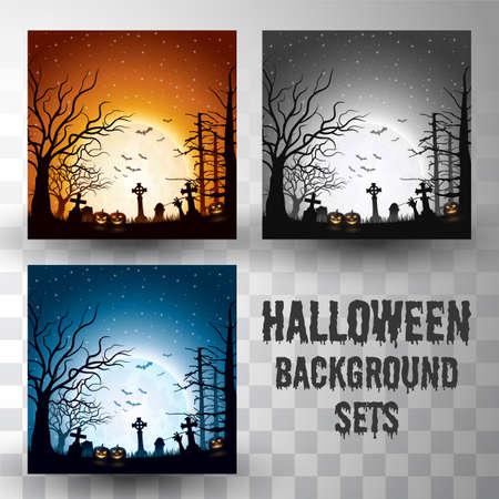 Illustration pour Halloween silhouette background sets with different colour scene - image libre de droit