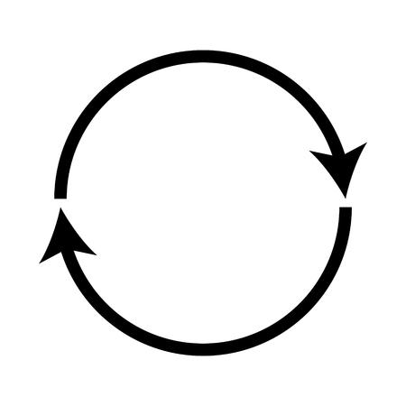 Illustration pour Double curved black recycle icon. - image libre de droit