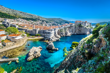 Photo for Aerial panoramic view at famous european travel destination, old town Dubrovnik in Croatia. - Royalty Free Image