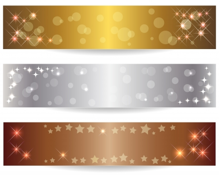 Set of three abstract banners with shining stars