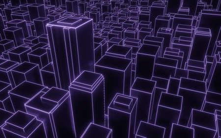 Photo pour synthwave abstract city downtown background 3d render - image libre de droit