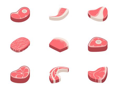 Vektor für Beef steak raw meat food red fresh cut butcher uncooked chop barbecue bbq slice ingredient vector illustration - Lizenzfreies Bild