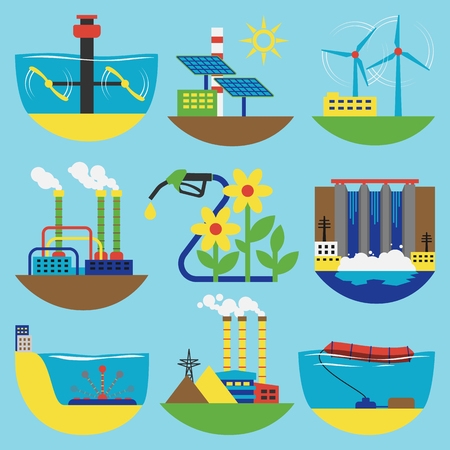 Alternative energy sources vector illustration concept ...