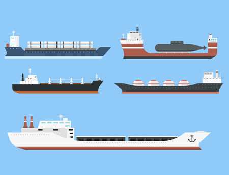 Ilustración de Set of commercial delivery cargo vessels and tankers shipping bulk carrier train ferry freight industrial goods side view isolated on background tankers boat vector illustration - Imagen libre de derechos