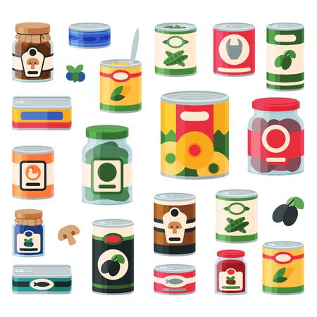 Ilustración de Canned goods food set - Imagen libre de derechos