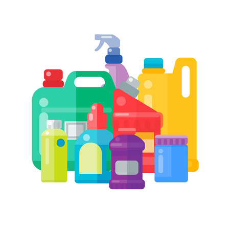 Illustration pour Bottles of household chemicals supplies cleaning housework plastic detergent liquid domestic fluid cleaner pack vector illustration. - image libre de droit