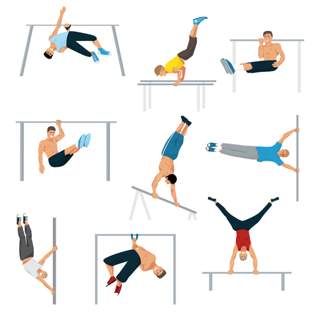 Horizontal bar chin-up strong athlete man gym exercise street workout tricks muscular fitness sport pulling up character vector illustration.