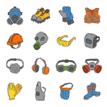 Illustration pour Vector protection clothing safety industry icons protective face and body equipment construction helmet, googles, mask and boots industrial mask for protect work life illustration - image libre de droit