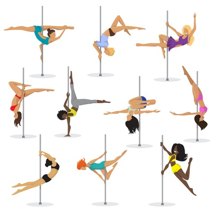 Illustration pour Pole dance girl vector set. Woman pole dancer on white background. - image libre de droit