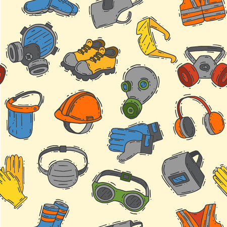 Illustration pour Vector protection clothing safety industry icons protective face and body equipment construction helmet, googles, mask and boots industrial mask for protect work seamless pattern background. - image libre de droit