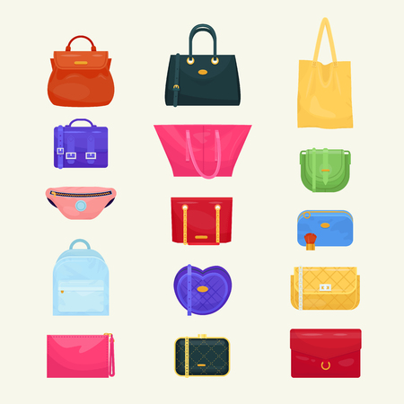Illustration pour Woman bag vector girls handbag or purse and shopping-bag or baggy package from fashion store illustration set of shoppers bagged package isolated on background - image libre de droit