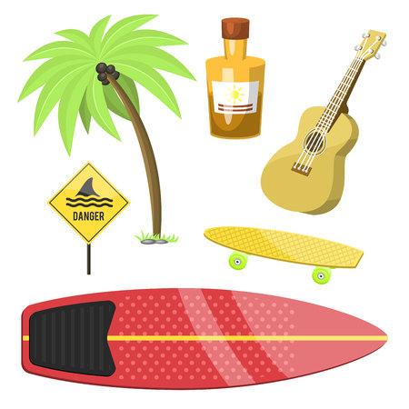 Surfing active water sport surfer summer time beach activities vector illustration.