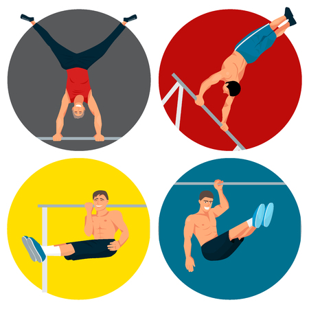 Horizontal bar chin-up strong athlete man gym exercise street workout tricks muscular fitness male sport pulling up character vector illustration. Bodybuilding equipment sportsman.