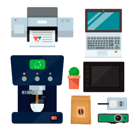 Computer office equipment Illustration.