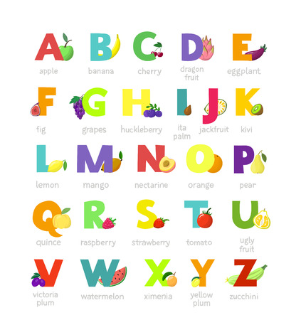 Illustration pour Fruit alphabet vector alphabetical vegetables font and fruity apple banana letter illustration alphabetically set of abc text with watermelon tomato and strawberry isolated on white background. - image libre de droit