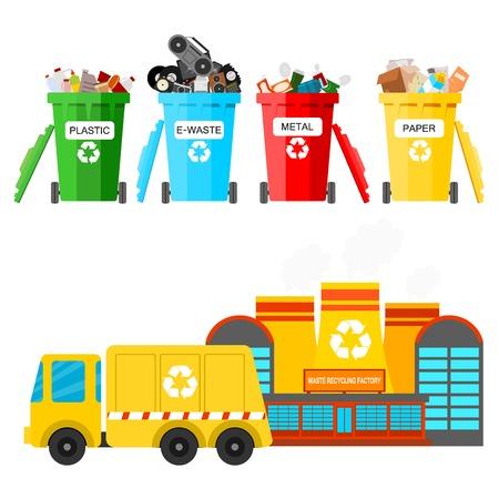 Ilustración de Waste recycling vector garbage process factory truck brought processing industry processed manufacturing production illustration. - Imagen libre de derechos
