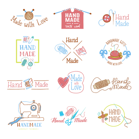 Illustration pour Handmade logo vector wool knitting needles or sewing handcraft hobby workshop logotype illustration set of crocheting woolly knitwear and handknitting needlework label isolated on white background - image libre de droit