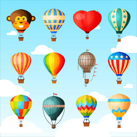 Illustration pour Balloon vector cartoon air-balloon or aerostat with basket flying in sky and ballooning adventure flight illustration set of ballooned traveling isolated on background - image libre de droit