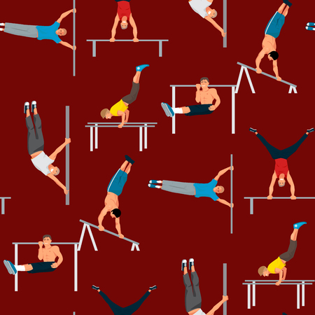 Horizontal bar chin-up strong athlete man gym exercise street workout tricks muscular fitness sport pulling up character seamless pattern background vector illustration.