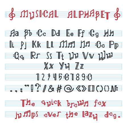 Illustration pour Alphabet ABC vector musical alphabetical font with music note letters of alphabetic typography illustration alphabetically melody typeset isolated on white background. - image libre de droit