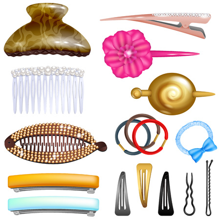 Hair accessory vector hairpin or hair-slide and hair-clip ponytailer for girlish hairstyle illustration beauty fashion set of hairgrip or hairdressing accessories isolated on white background.