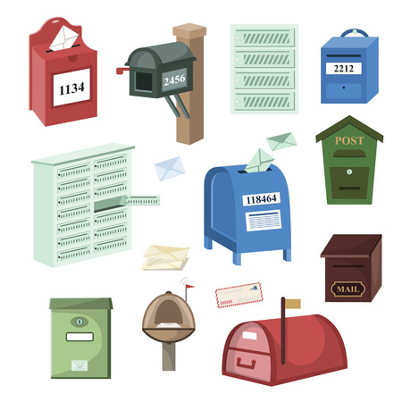 Illustration pour Mail box vector post mailbox or postal mailing letterbox illustration set of postboxes for delivery mailed letters isolated on white background. - image libre de droit