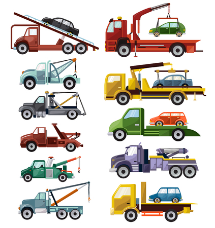 Ilustración de Tow truck vector towing car trucking vehicle transportation towage help on road illustration set of towed auto transport isolated on white background. - Imagen libre de derechos