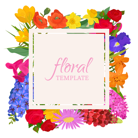Illustration pour Floral template for flower shops or invitation cards. Beautiful oriental floral pattern and bright ornament. Different flowers such as roses, daffodil, poppy, tulip, hyacinthus banner, poster. - image libre de droit