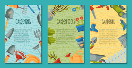 Illustration pour Garden tools set of posters or cards vector illustration. Equipment as wheelbarrow, trowel fork hoe, boots, gloves, shovel and lawn mower, watering can. Plant such as flower and tree seedlings. - image libre de droit