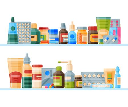 Ilustración de Medication on shelf banner vector illustration. Medicine, pharmacy store, hospital set of drugs with labels. Pharmaceutics concept. Medical pills and bottles. Drugs list. - Imagen libre de derechos
