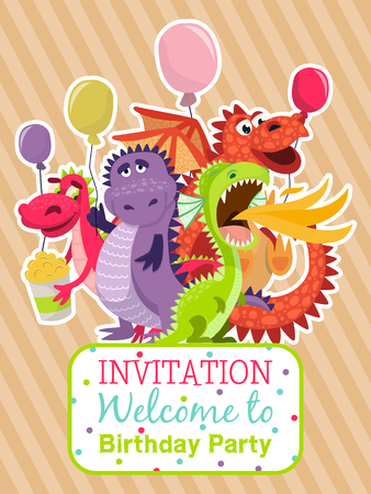 Illustration pour Baby dragons poster, invitation card vector illustration . Cartoon funny dragons with wings. Fairy dinosaurs with pop corn and baloons. Welcome to birthday party. Dragon breathing fire. Celebration. - image libre de droit