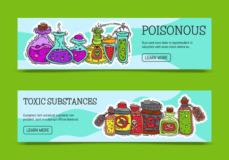 Illustration pour Poisonous chemicals and toxic substances banners vector illustration. Different containers for liquids oil, biofuel, explosive, chemical, radioactive, flammable and poisonous liquids. - image libre de droit
