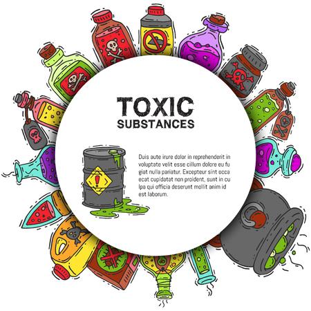 Illustration pour Toxic substances round pattern vector illustration. Different containers for liquids and poisonous chemicals oil, biofuel, explosive, radioactive, flammable and poisonous liquids. - image libre de droit