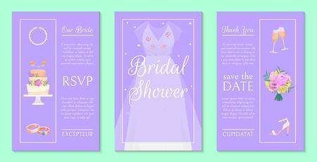 Illustration pour Bridal shower invitation set of banners vector illustration. Save the date. Wedding accessories such as flower bouquet, dress, glasses with champagne, cake, shoes, necklace. - image libre de droit