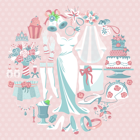 Illustration pour Bride accessories round pattern vector illustration. Items for wedding ceremony. Wedding dress, cake, cupcakes, glass of champagne, shoes, engagement rings, gloves, necklace. - image libre de droit