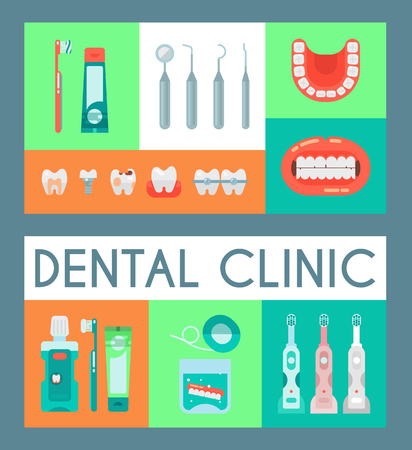 Illustration pour Dentistry set of banners vector illustration. Dental clinic, oral care with electronic brush, paste, mouse wash. Set of dental tools and equipment. Orthodontics. Bad teeth with cavities and caries. - image libre de droit