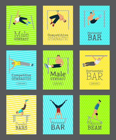 Male gymnast set of cards vector illustration. Competitive gymnastic. Horizontal bar. Parallel bars. Balance beam. Athlete man banners. Exercising men in different poses. Boys are training in club.